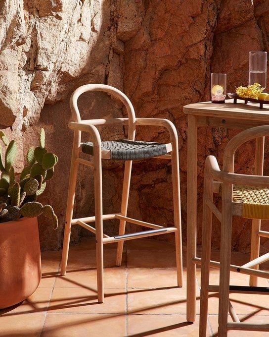Барный стул Sheryl Green M из дерева бежевого цвета