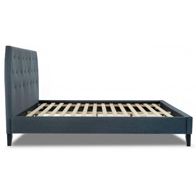 Кровать двуспальная Pamela 160х200 темно-голубого цвета