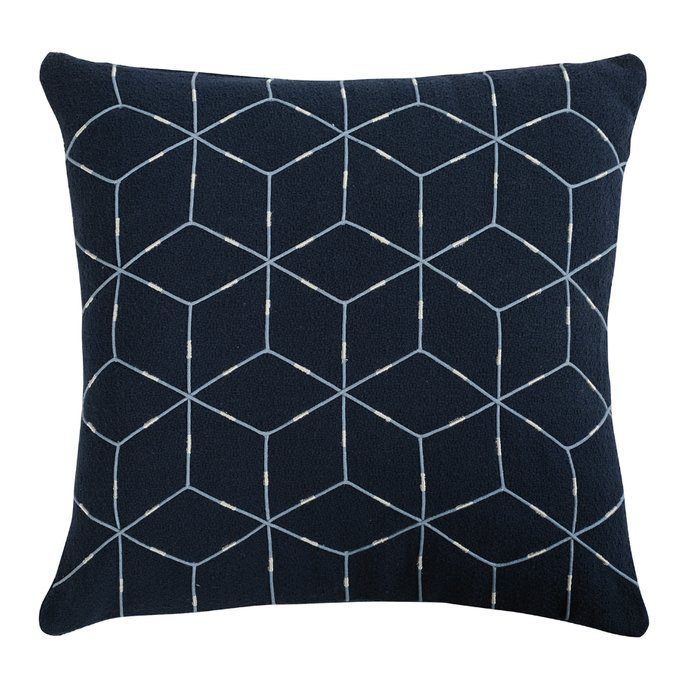 Подушка декоративная Ethnic из хлопка темно-синего цвета с геометрическим орнаментом
