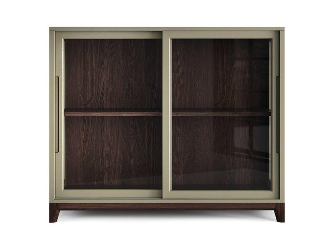 Низкая витрина Case тёмный дуб / оливковый