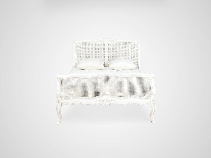 Кровать с ротанговым изголовьем и изножьем 180x200