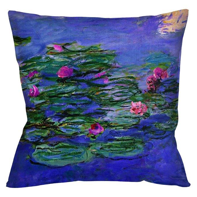 Декоративная арт подушка Водяные лилии версия 1