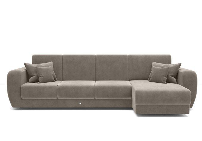 Угловой диван-кровать серо-бежевого цвета