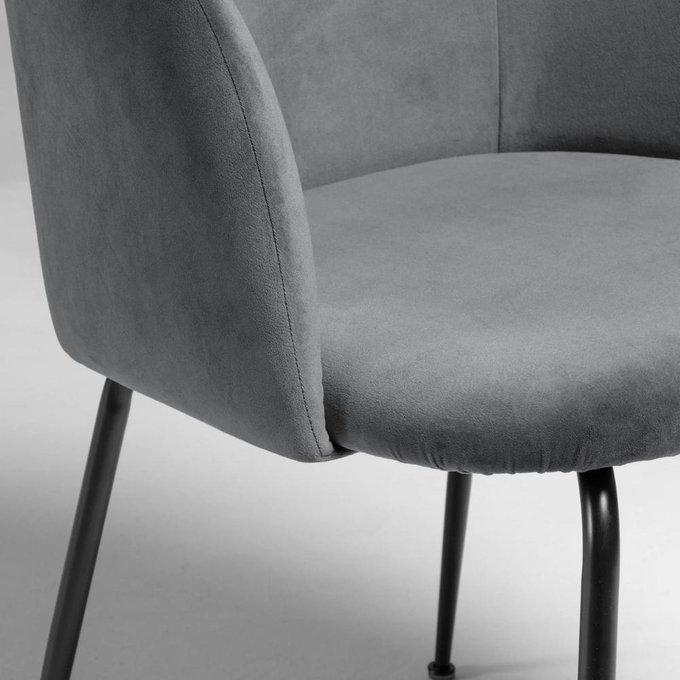 Мягкий стул Ludelina grey velvet серого цвета
