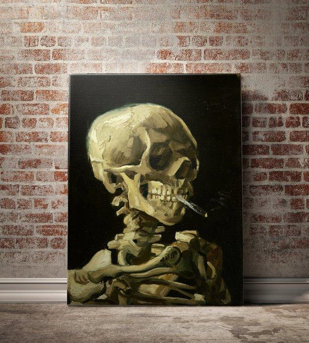 """Картина """"Череп с горящей сигаретой"""""""