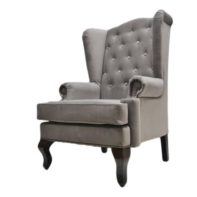 Каминное кресло с ушами тёмно-серого цвета