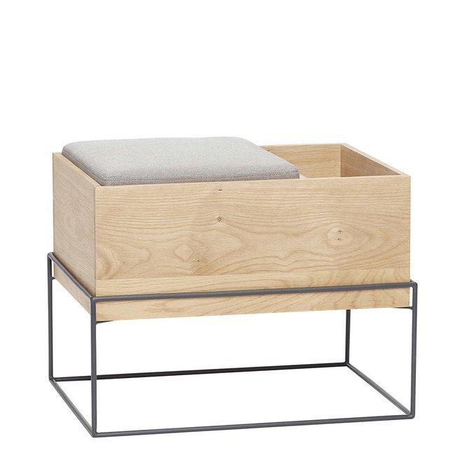 Банкетка со светло-серой подушкой и отделением для хранения
