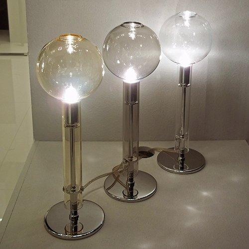 Настольная лампа Ampolla smoke/chrome с плафоном из стекла