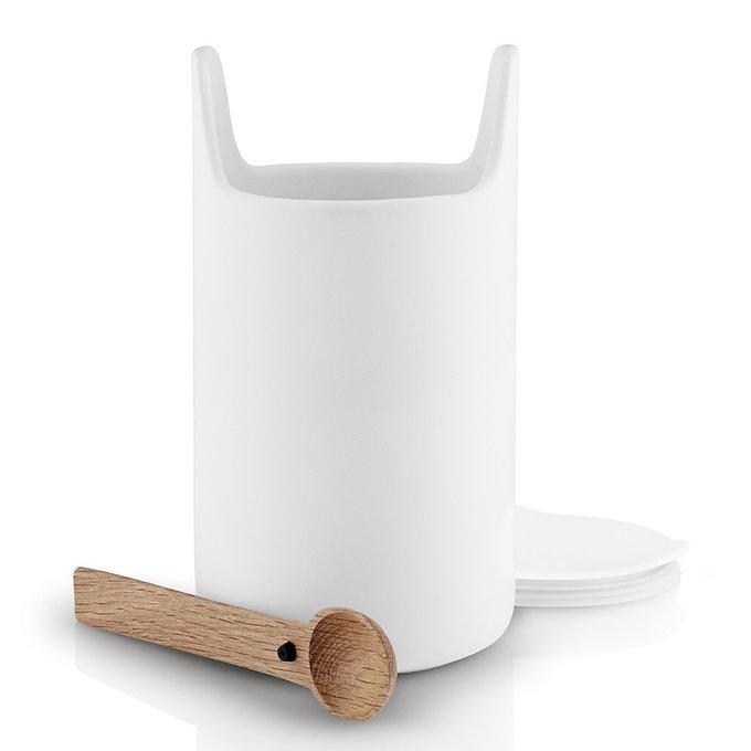Емкость для хранения Toolbox белый с крышкой и ложкой из дуба