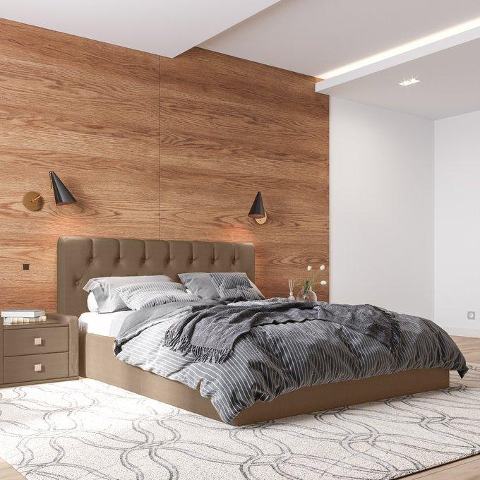 Кровать Инуа 160х200 коричневого цвета с подъемным механизмом