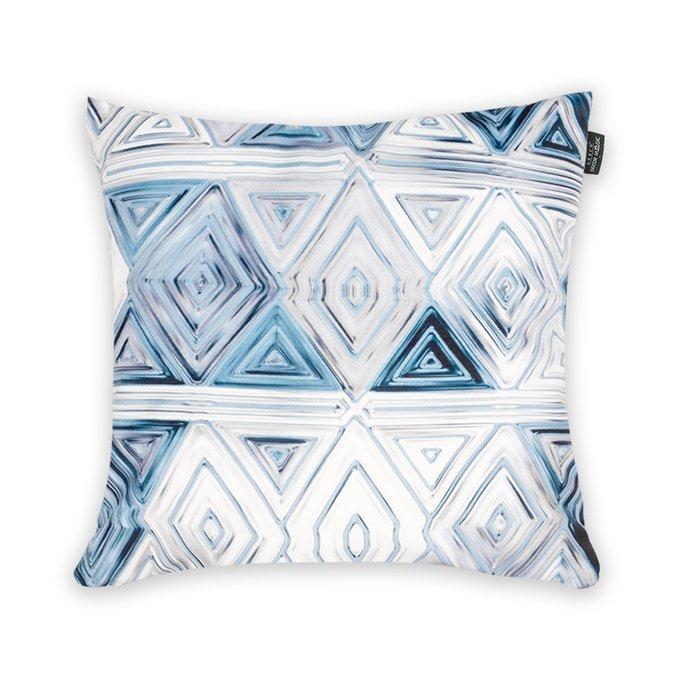 Декоративная подушка Vitrage бело-голубого цвета 45х45