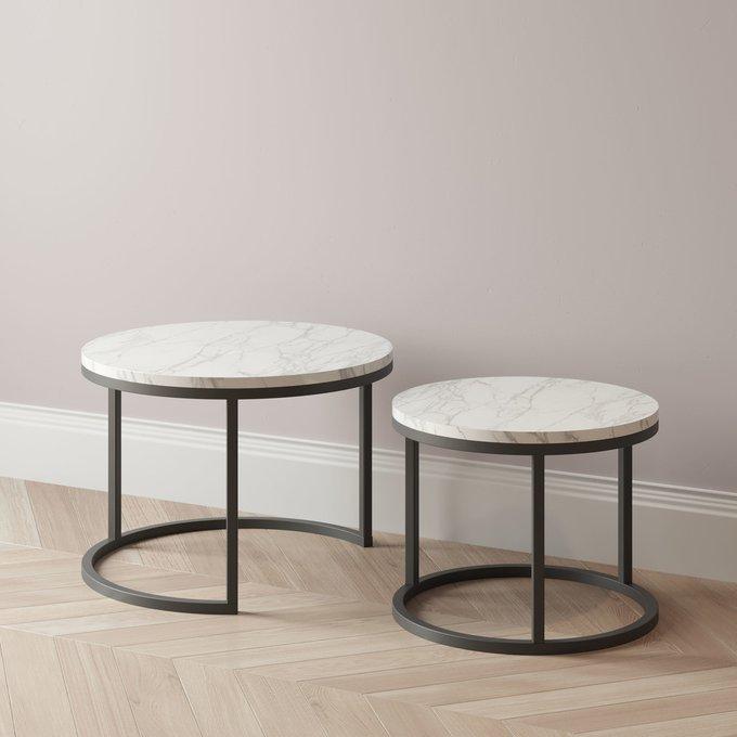 Комплект журнальных столиков Sirena с мраморными светлой столешницами