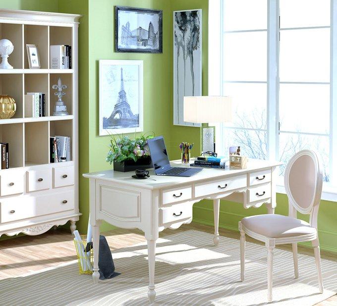 Письменный стол Снежный Прованс с пятью ящиками