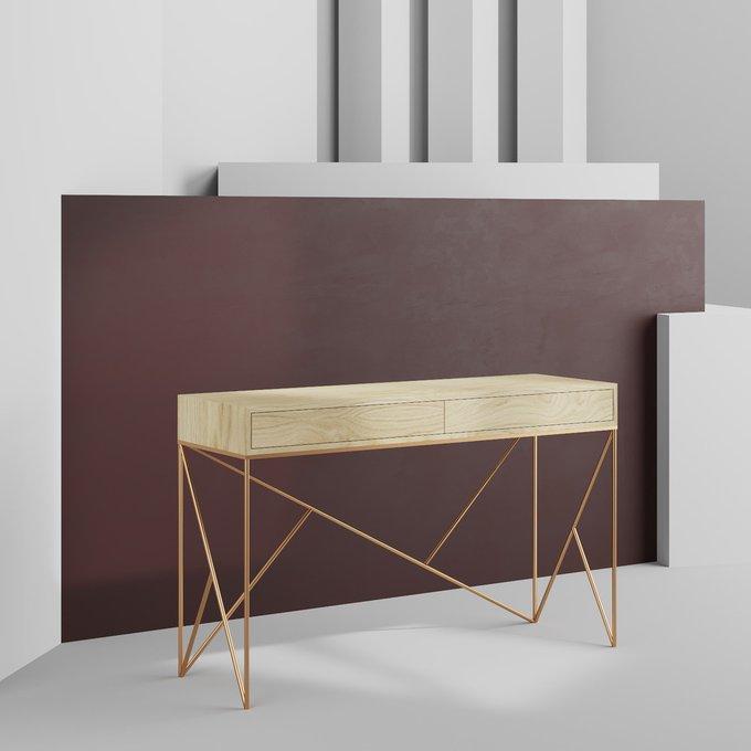 Консоль Prince line box gold с двумя ящиками