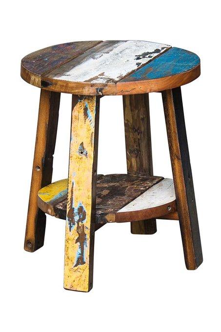 """Табурет """"Ганди"""" из массива древесины старого рыбацкого судна"""