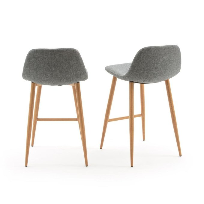 Комплект из двух полубарных стульев Nordie серого цвета