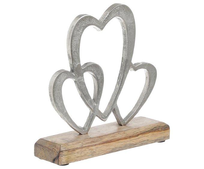 Декор настольный Сердечки серебристого цвета