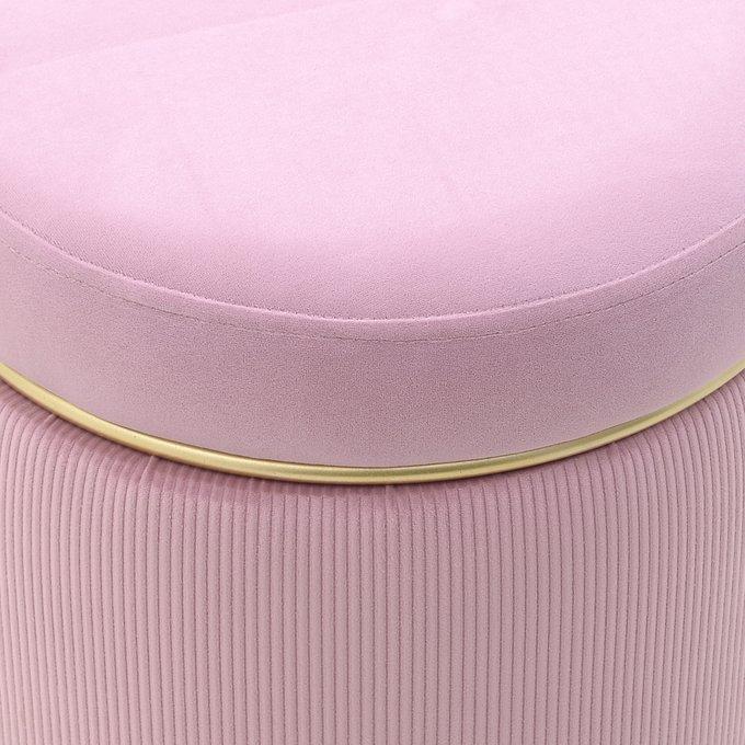 Пуф розового цвета с металлическим обручем