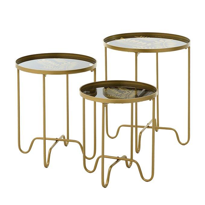 Набор из трех кофейный столиков золотого цвета