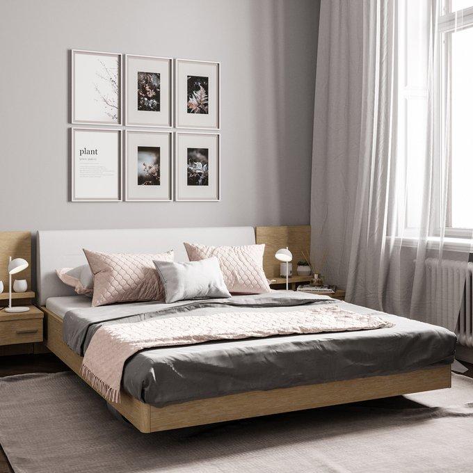 Кровать Элеонора 140х200 с изголовьем бежевого цвета