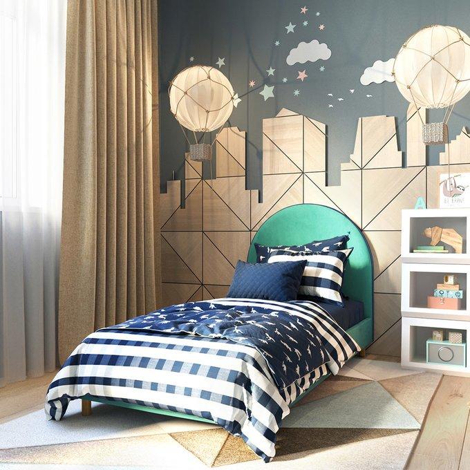 Односпальная кровать Alana на ножках синего цвета 90х190