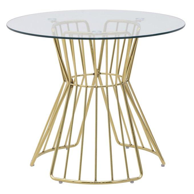 Обеденный стол из металла и стекла