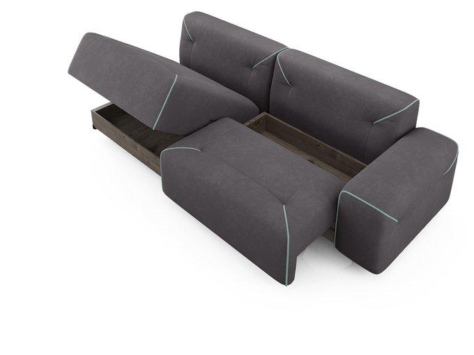 Угловой диван-кровать левый Portu темно-серого цвета с бирюзовым кантом