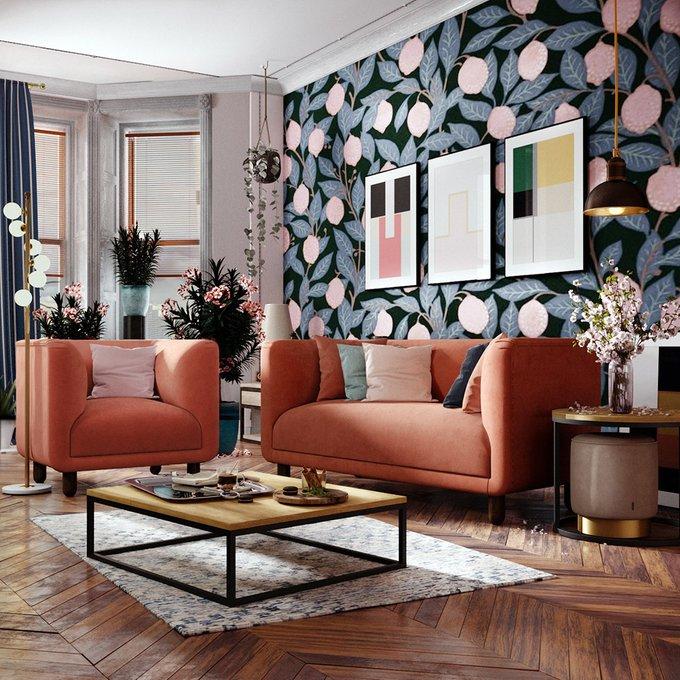Двухместный диван Tribeca розового цвета