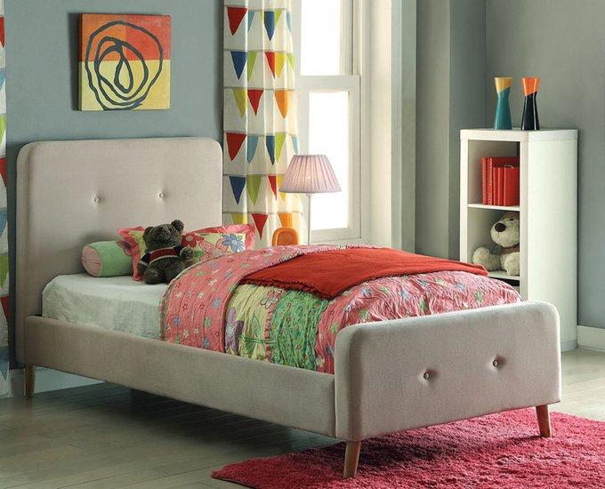 Кровать Button Tufted Flannelette Beige бежевого цвета 120х200