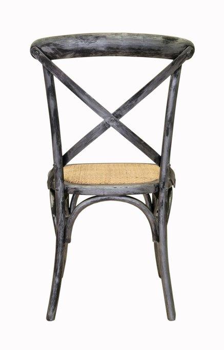 Венский стул Cross Back Silver с сидением из ротанга