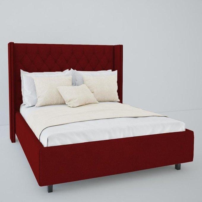 Кровать с декоративными гвоздиками Wing Велюр Красный 200x200