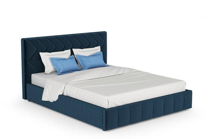 Кровать Милана 160х200 без подъемного механизма полуночно-синего цвета