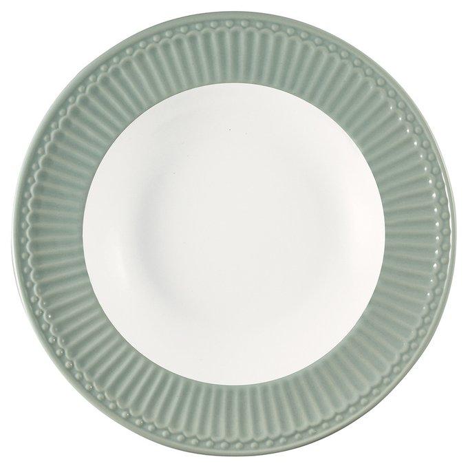Глубокая тарелка Alice dusty mint из фарфора