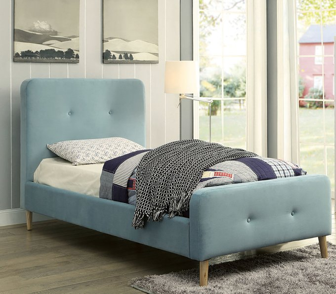Кровать Button Tufted Flannelette Blue голубого цвета 90х200