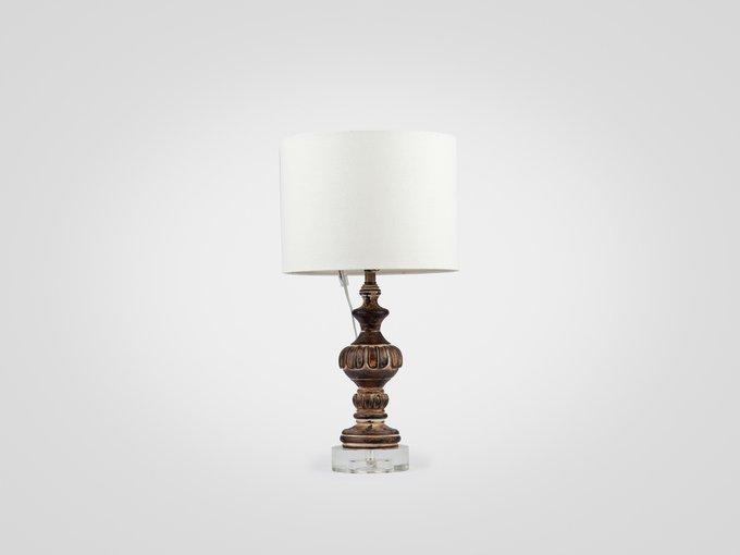 Лампа настольная на декоративной ножке украшенной патиной и старением