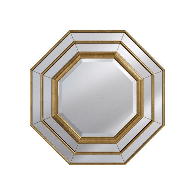 Настенное зеркало Eight Facet Mirror в раме золотого цвета