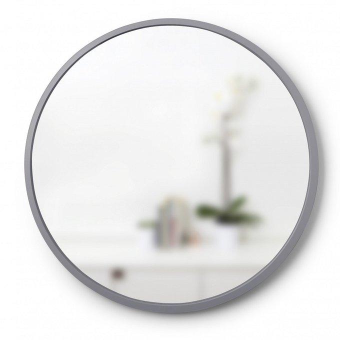Зеркало настенное Hub серое в резиновой раме