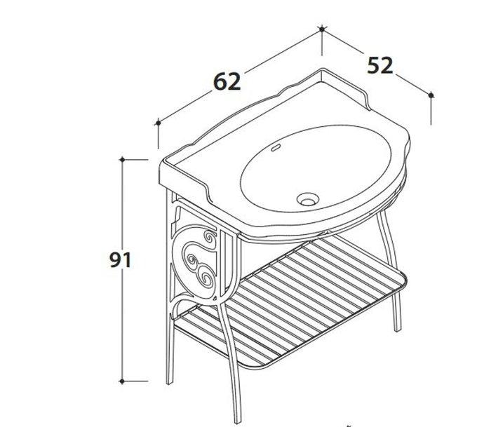 Консоль напольная с раковиной Paestum
