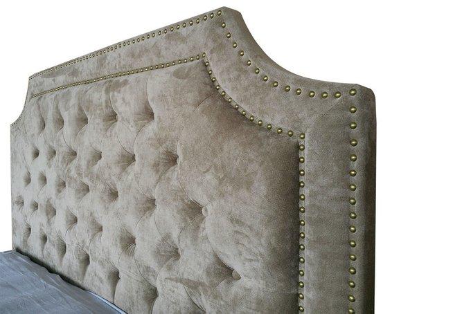 Кровать двуспальная бежевый бархат 160х200 см