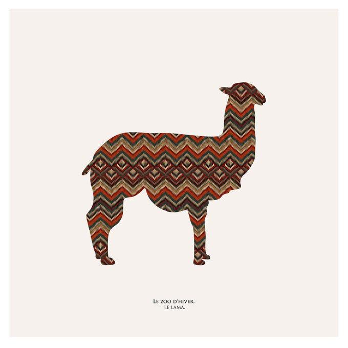 Картина (репродукция, постер): Зимний зоопарк лама