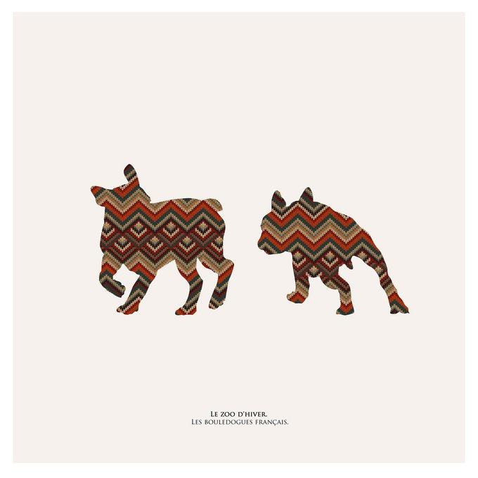 Картина (репродукция, постер): Зимний зоопарк, французские бульдоги
