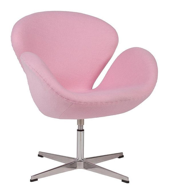 Кресло Swan Chair из шерстяной ткани светло-розового цвета