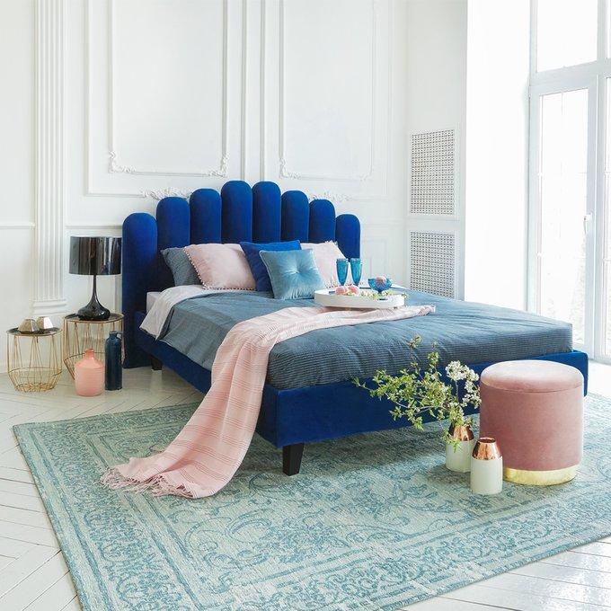 Кровать Queen Sharlotta сине-зеленого цвета 160х200 с подъемным механизмом