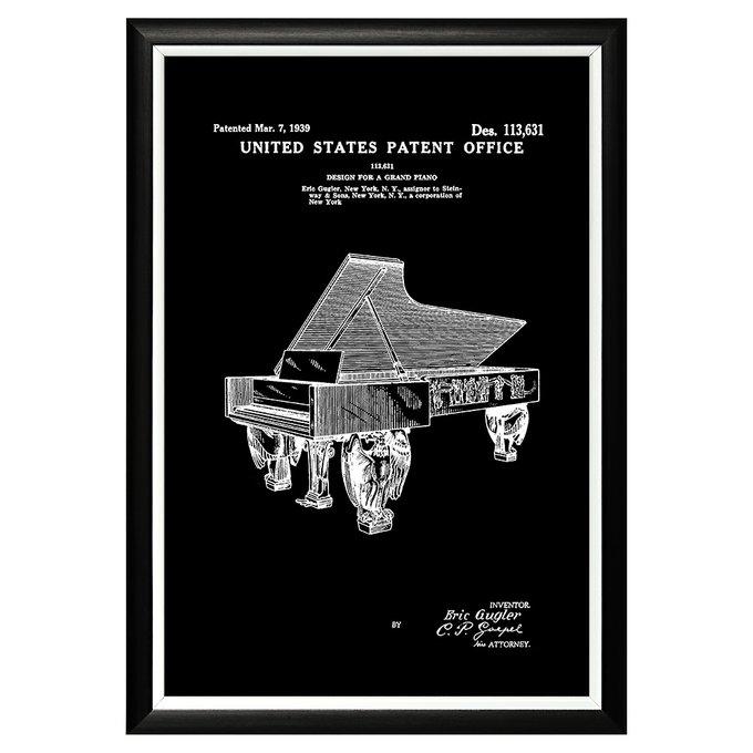 Арт-постер Патент на декоративный дизайн рояля