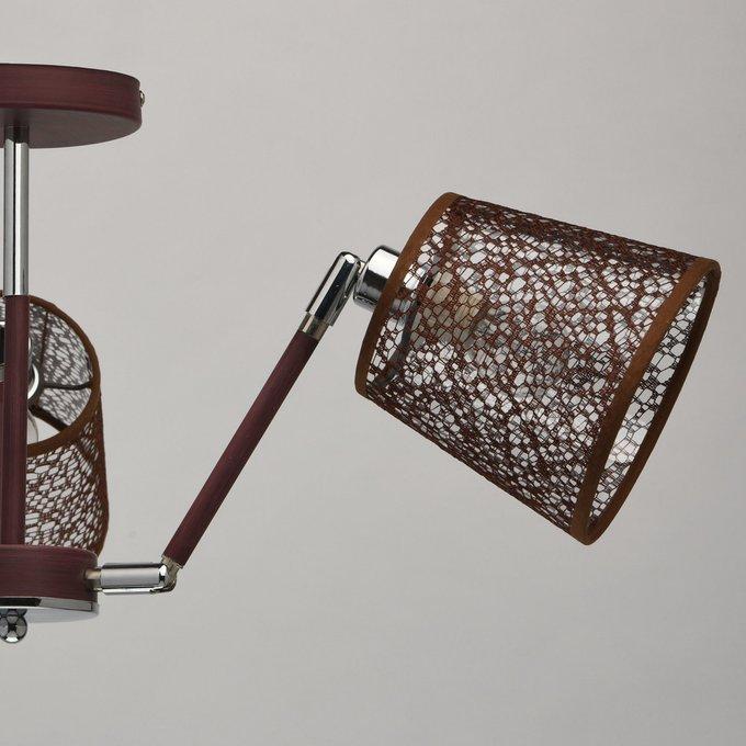 Подвесная люстра Лацио с абажурами коричневого цвета