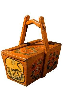 Традиционная китайская корзина для завтраков. Орнаментальная роспись
