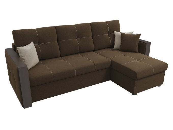 Угловой диван-кровать Валенсия темно-коричневого цвета