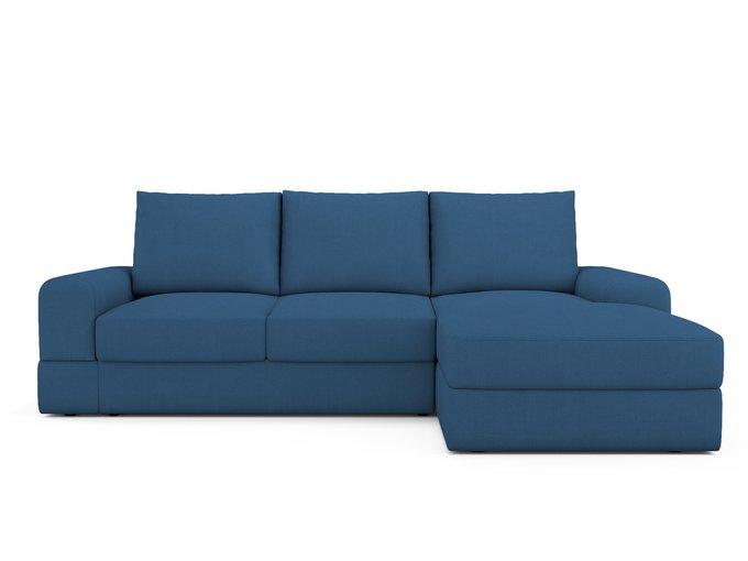 Угловой Диван-кровать Elke правый синего цвета