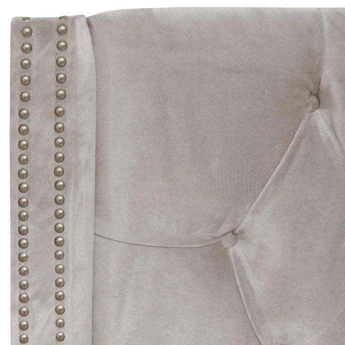 Кровать с декоративными гвоздиками Wing Велюр Серый 180x200