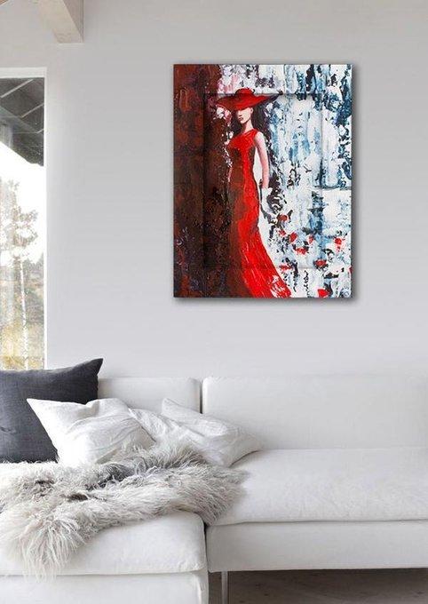 Картина с арт рамой Дама в красном 60х80